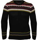 Grancos Men's Long Sleeve Norwiign Jumper-Black