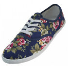 Womens Classic Plimsoll Sneaker Lace Up Fashion Canvas Shoes, Colors, Sizes 5-11