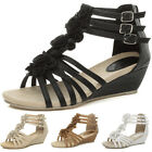 WOMENS LADIES LOW HEEL FLAT WEDGE STRAPPY SUMMER ZIP FLOWER SANDALS SIZE