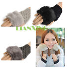 Women Ladies Fingerless Faux Fur Wrist Knitted Wool Mitten Gloves Winter Warm