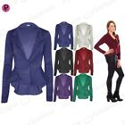 Womens Ladies Smart Fit Casual Office Frill One Button Blazer Peplum Coat Jacket