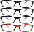 Fiore 4 Pack Reading Glasses Clear Lens Rectangle Readers for Men and Women