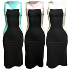 Ladies Womens Cut Out Panel Side Dress Calf Length Black Casual Stretch Bodycon
