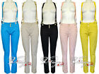NEW WOMENS COLOURED HIGH WAIST WAISTED CHINO TROUSERS BRACES SKINNY JEANS PANTS