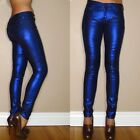 $198 Seven 7 For All Mankind Skinny Metallic Jeans Liquid Electric Blue 23-26