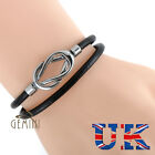 UK Infinity GENUINE LEATHER Black Brown Wristband Bracelets UK053A