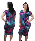 Womens Plus Size Printed Midi Dress Short Sleeved Ladies New 16-28 Party