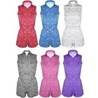 NEW Ladies Floral Flower Print Playsuit All in one piece onesie Jumpsuit