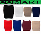 Ladies Womens Bandage Bodycon  Panel Stretchy Party Ribbed Mini Skirt Size 8-14