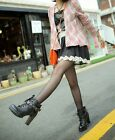 Women Punk Motorcycle Leather Boots High Heels Platform Lace-up Ankle Shoes