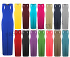 NEW WOMENS LADIES JERSEY MUSCLE RACER BACK MAXI LONG VEST DRESS SIZE 8 10 12 14