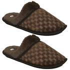 NEW MENS COMFORT FLAT WARM WALKING WINTER CASUAL SLIPPERS SHOES FAUX FUR MULES