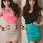 Womens Coral Turquoise Cowl Contrast Bodycon Pencil Wiggle Dress 8 10 12 14