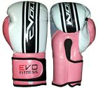 Evo Fitness Ladies Boxing Gloves Pink GEL MMA Kick Boxing Muay Thai Sparring