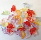 100 'Lucite' clear Acrylic Beads, leaves/pendants 8 x 14mm choice of colour