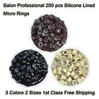 3 Colors 200 Silicone Linded Micro Rings Beads For Stick I Tip Hair Extensions