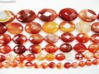 Red Carnelian Natural Agate Gemstone Faceted Oval Loose Beads 15'' Inches Strand