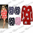 Womens Long Sleeves Ladies Star Print Celebrity Knitted Sweater Jumper Long Top
