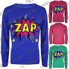 Womens Zap Pow Comic Long Sleeves Ladies Knitted Super Heroes Sweater Jumper Top