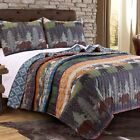 BEAUTIFUL COZY CABIN LODGE REVERSIBLE BLUE GREEN MOOSE BEAR RUSTIC QUILT SET image