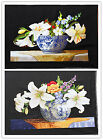 "New Finished Completed Cross Stitch ""lily flower pot "" freeshipping to USA"