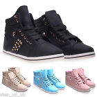 NEW Womens/Ladies/Girls Gold Stud Lace Up High Top Trainers Shoes