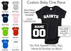 Saints Baby One Piece - Custom Name and Number, Creeper, Onesie
