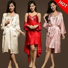Women Silk Satin Long Nightgown Robe Bathrobe__Fits all seasons
