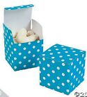 "Turquoise Polka Dot 2"" Square Favor Boxes Birthday WEDDING #36291"
