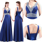 2013 Stock V-Neck Evening Formal Bridesmaid Wedding Gown Prom Party Long Dresses