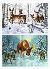 "Finished Completed Cross Stitch needlepoint ""Deers in forest""freeshipping to USA"