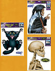 HALLOWEEN NOVELTY CAR WINDOW DECORATIONS - Grim Reaper, Skeleton or Crazy Cat