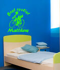 SPORT CYCLIST PERSONALISED KIDS NAME WALL ART DECAL STICKERS VINYL ROOM BEDROOM
