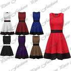 Womens Stretchy Contrast Panel Sleeveless Knee Length Flared Ladies Skater Dress