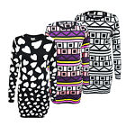 New Womens Heart Pattern Long Sleeve Top Ladies Knitted Jumper Size S/M , M/L