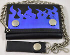 Fire Flame  Leather Tri-fold Chain Wallet
