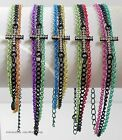 Three Assorted Color Chains Black One Sideways Cross Small Synthetic Crystals