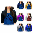 PS2 SATIN BRIDESMAID WEDDING PROM SHRUG BOLERO CARDI JACKET TOP SIZE 8 - 24