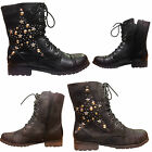 WOMENS LADIES MILITARY LOW HEEL FLAT LACE UP BIKER ARMY COMBAT ANKLE BOOTS SHOES