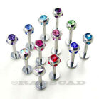 1 x 16G LABRET MULTI GEM CRYSTAL MONROE BAR LIP RING STUD PIERCING CLEAR L13