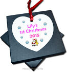 Personalised Baby's 1st First Christmas Hanging Heart Tree Ornament Decoration