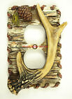 Deer Antler Switch Plate Covers Faux Birch Wood Pine Cone Cabin Lodge Decor