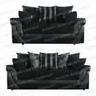BRAND NEW LUSH 3+2 SEATER SOFAS -  BLACK JUMBO CORD / BLACK FAUX LEATHER