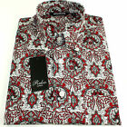 Relco Mens Red Black White Paisley Long Sleeved Shirt Mod Skin Retro Indie 60s