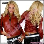 Leather Look Jacket Sexy Women's Ladies New Zip Fit Faux Jacket Size 8,10,12 UK