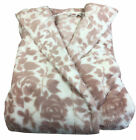 Slenderella Soft Coral Fleece Dressing Gown Luxury Wrap Around Floral Housecoat