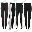 New Womens Full Length Fleece Quilted Side Panel Gym Cuffed Jog Pants Bottom