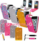 Sparkly Diamond Bling Rhinestone Luxury Leather Flip Cover Case For Mobile Phone