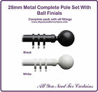 28mm Metal Curtain Pole With Ball Finials Black White