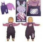 Baby girl purple bunny warm dungarees long sleeve top outfit set NB 0-3-6-912 M